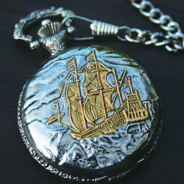 PWK- Sailing Ship Pocket Watch on Chain-0