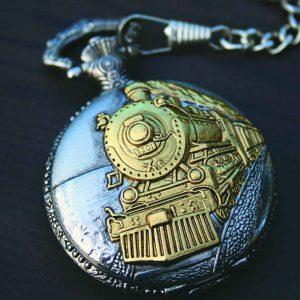 PWK-Train Pocket Watch on Chain-0